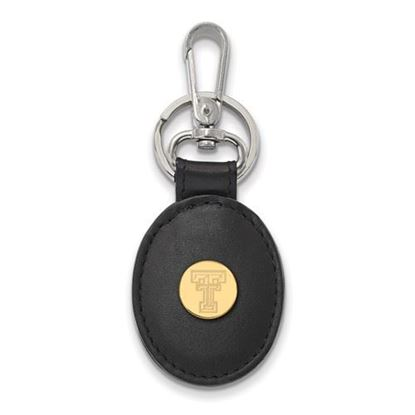 Picture of Texas Tech University Red Raiders Sterling Silver Gold Plated Leather Key Chain