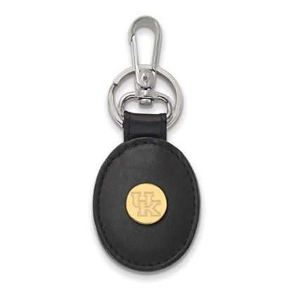 Picture of University of Kentucky Wildcats Sterling Silver Gold Plated Leather Key Chain