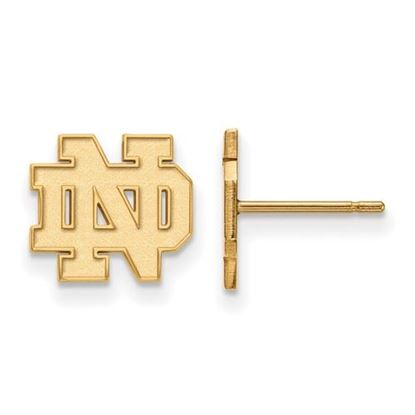 Picture of University of Notre Dame Fighting Irish Sterling Silver Gold Plated Extra Small Post Earrings