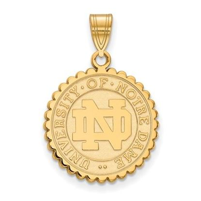 Picture of University of Notre Dame Fighting Irish Sterling Silver Gold Plated Large Crest Pendant