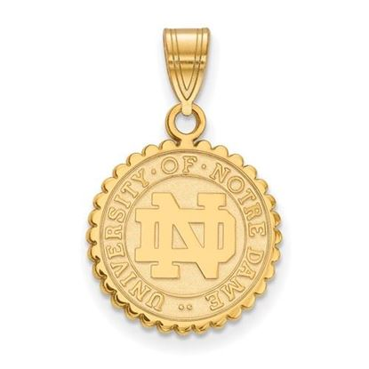 Picture of University of Notre Dame Fighting Irish Sterling Silver Gold Plated Medium Crest Pendant