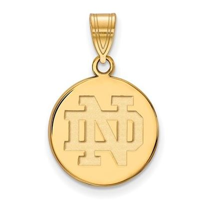 Picture of University of Notre Dame Fighting Irish Sterling Silver Gold Plated Medium Disc Pendant