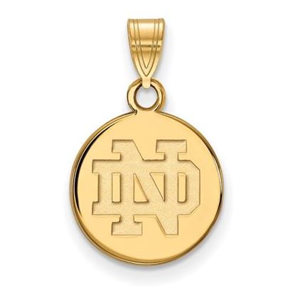 Picture of University of Notre Dame Fighting Irish Sterling Silver Gold Plated Small Disc Pendant