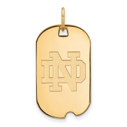 Picture of University of Notre Dame Fighting Irish Sterling Silver Gold Plated Small Dog Tag