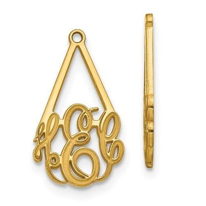 Personalized 10k Yellow Gold Epoxied Small Monogram Earring Jackets