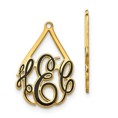 Personalized 10k Yellow Gold Epoxied Large Monogram Earring Jackets