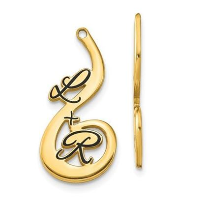 Personalized Gold Plated Epoxied Large Two Letter Earring Jackets