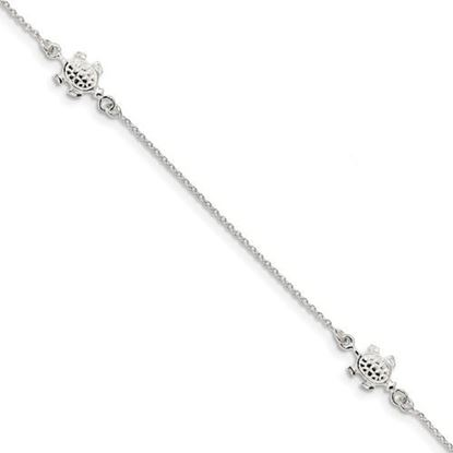 Picture of 9 inch Sterling Silver Turtle Anklet with 1 inch extension