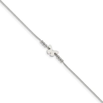 Picture of 9 inch Sterling Silver Polished Butterfly Anklet with 1 inch extension