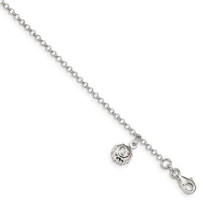 Picture of 10 inch Sterling Silver Sun Anklet with 1 inch extension
