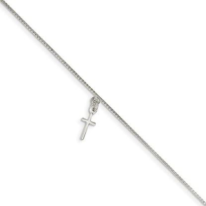 Picture of 9 inch Sterling Silver Cross Anklet