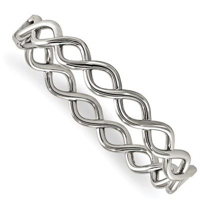 Picture of Stainless Steel Polished Criss Cross Hinged Bangle