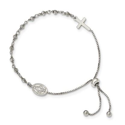 Picture of Sterling Silver Miraculous Medal Adjustable Bracelet