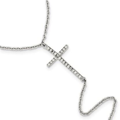 Picture of Sterling Silver Polished CZ Cross Ring Bracelet