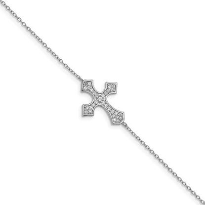 Picture of Sterling Silver Rhodium-plated CZ Cross Bracelet with 1 inch extension
