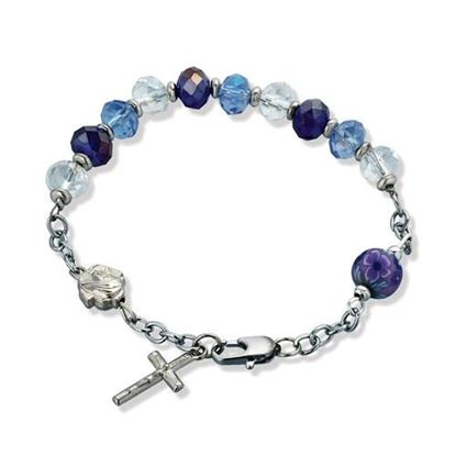 Picture of 7 inch Silver-tone Blue Glass Crucifix Bracelet