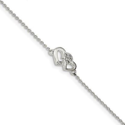 Picture of 7 inch Sterling Silver Polished CZ Double Heart Bracelet with 0.5inch extension