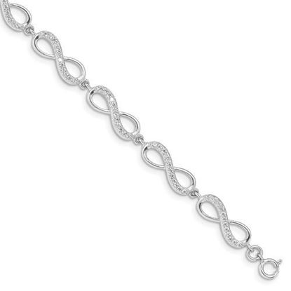 Picture of 7 inch Sterling Silver Rhodium Plated CZ Infinity Bracelet