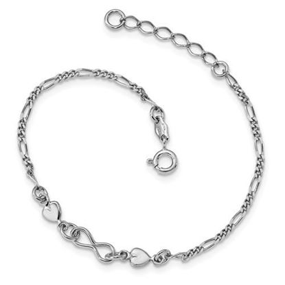 Picture of 7 inch Sterling Silver Rhodium-Plated Heart Bracelet with 1 inch extension