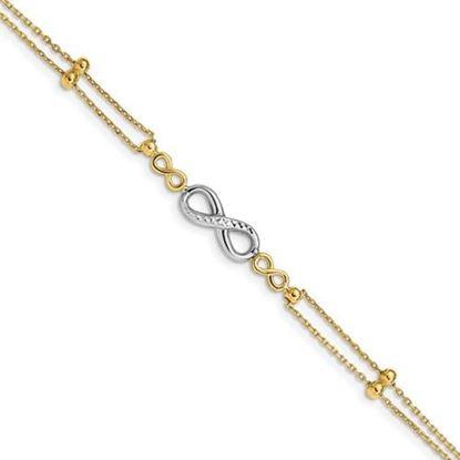 Picture of 7.5 inch 14K Two-tone Polished Diamond Cut Multi-Strand Infinity Bracelet