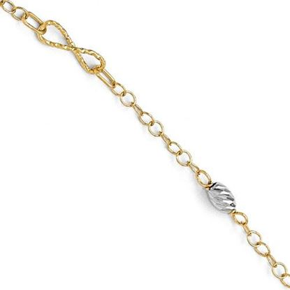 Picture of 7.5 inch Leslie's 14k Two-tone Polished and Diamond-cut Bracelet