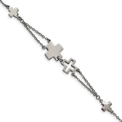 Picture of 7.5 inch Stainless Steel Cross Bracelet