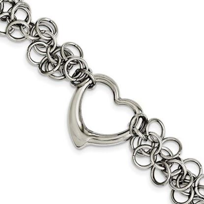 Picture of 7.5 inch Stainless Steel Polished Circles Heart Bracelet
