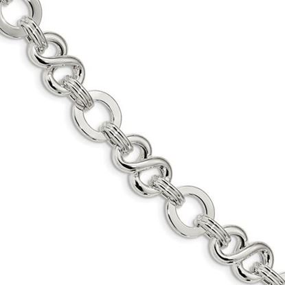 Picture of 7.5 inch Sterling Silver Polished Infinity Symbol Fancy Link Bracelet with 0.5 inch extension