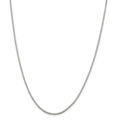 Picture of Sterling Silver Rhodium-plated 1.7mm Diamond Cut Box Chain Necklace