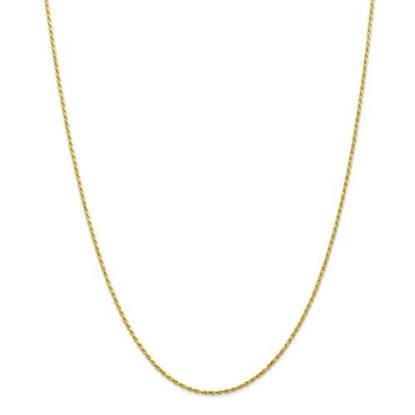 Picture of 10k Yellow Gold 1.3mm Machine Made Diamond Cut Rope Chain Necklace