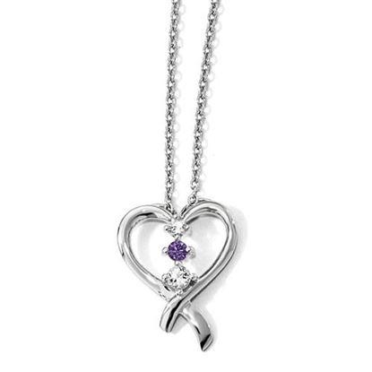 Picture of 16 inch 10k White Gold Survivor Purple Swarovski Topaz Heart of Resilience Necklace