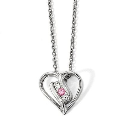 Picture of 16 inch 10k White Gold Survivor Clear and Pink Swarovski Topaz Heart of Support Necklace