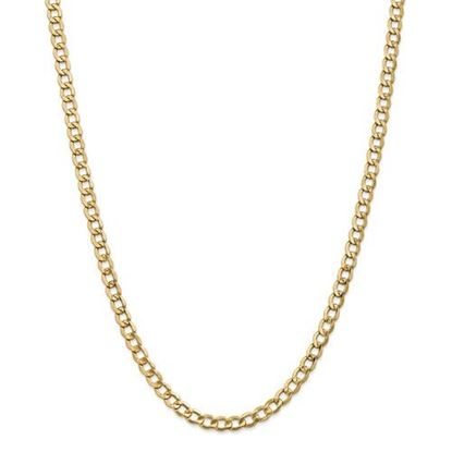 Picture of 18 inch Leslie's 14k Yellow Gold 5.25mm Semi-Solid Curb Link Chain Necklace