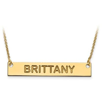 Picture of Personalized Sterling Silver Gold-plated Horizontal Bar Nameplate Pendant Necklace