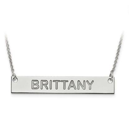 Picture of Personalized Sterling Silver Horizontal Bar Nameplate Pendant Necklace