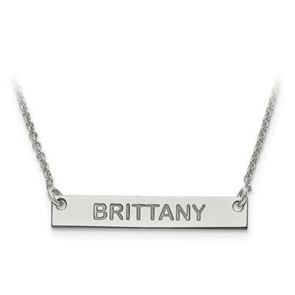 Picture of Personalized Sterling Silver Small Polished Block Letter Name Bar Necklace