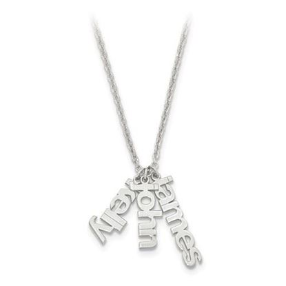 Picture of Personalized Sterling Silver Mom's Name Charms Necklace