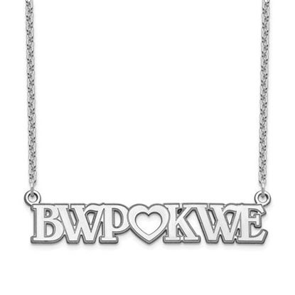 Picture of Personalized Sterling Silver Couple's Monogram And Heart Plate Necklace