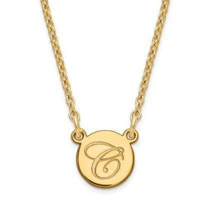 Picture of Personalized Gold-plated Tiny Circle Script Initial Necklace