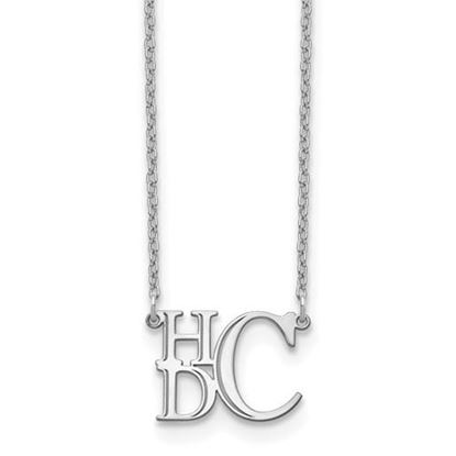 Picture of Personalized Sterling Silver Semi Stacked Monogram Necklace