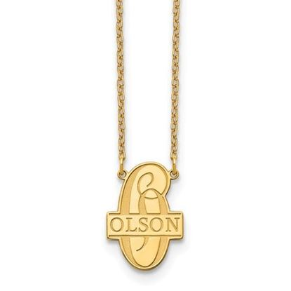 Picture of Personalized Gold-plated Script Letter and Family Name Necklace