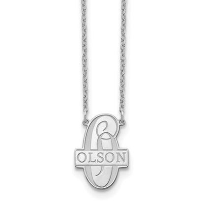 Picture of Personalized Sterling Silver Script Letter and Family Name Necklace