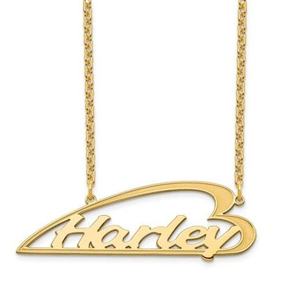 Picture of Personalized Gold-plated Side Heart Large Nameplate Necklace