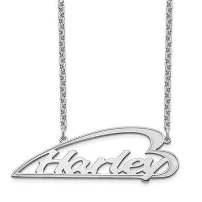 Picture of Personalized Sterling Silver Side Heart Large Nameplate Necklace