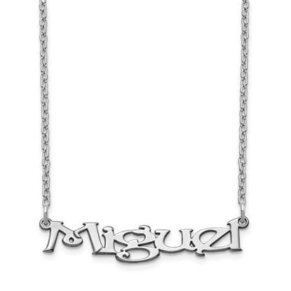 Picture of Personalized Sterling Silver Fancy Block Small Nameplate Necklace