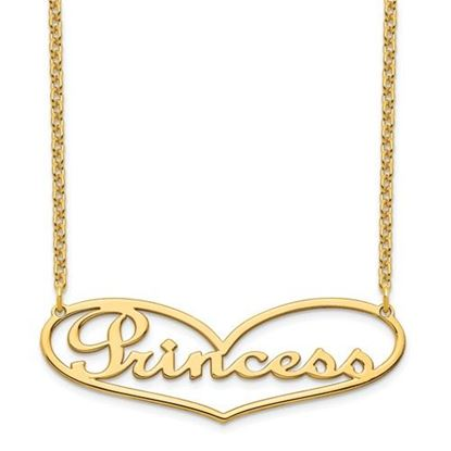Picture of Personalized Gold-plated Heart Large Nameplate Necklace