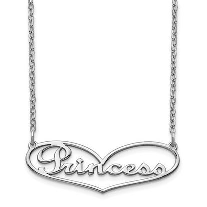 Picture of Personalized Sterling Silver Heart Small Nameplate Necklace