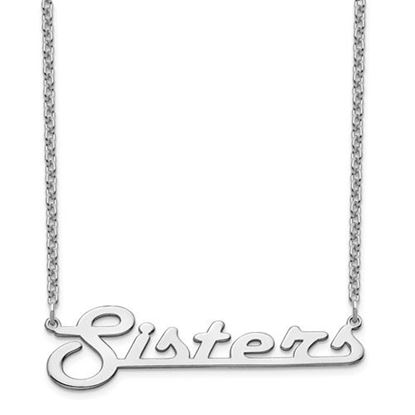 Picture of Personalized Sterling Silver Underlined Large Nameplate Necklace