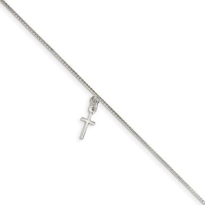 10 inch Sterling Silver Solid Polished Cross on Box Chain Anklet
