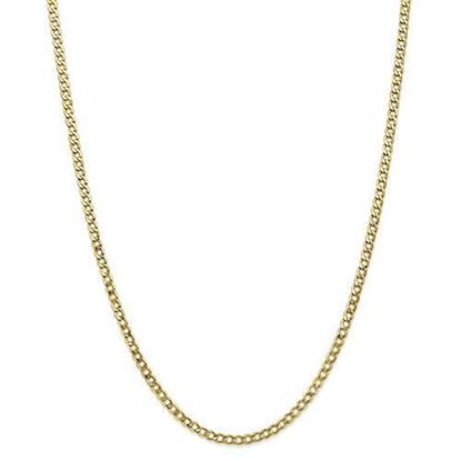 10k Yellow Gold3.35mm Semi-Solid Curb Link Chain Necklace